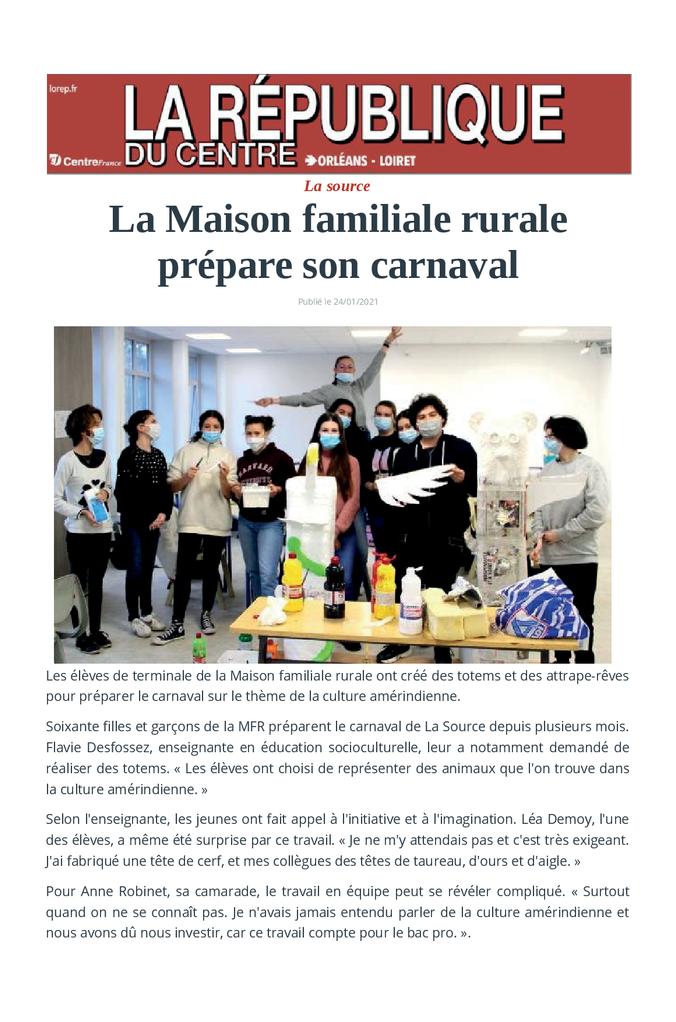 2021-01-24 - La Rep - Les élèves prépare