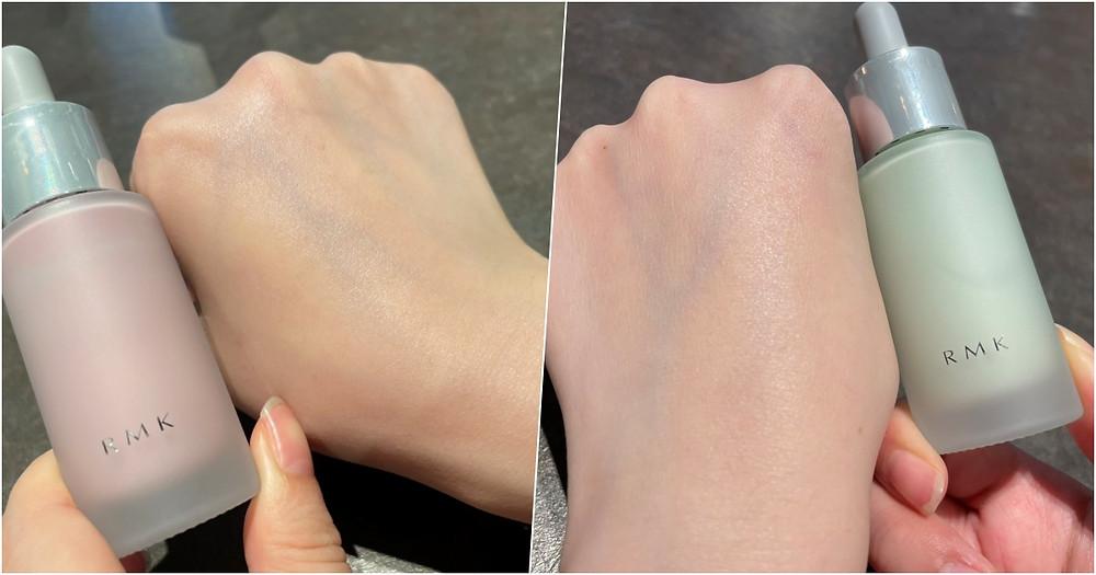 (02粉色)增加肌膚紅潤氣色、(05綠色)修飾泛紅、提亮膚色