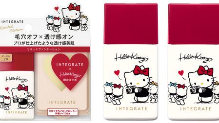 Hello Kitty限定聯名第二彈♥ INTEGRATE 粉底液可愛紅帽瓶登場~經典版Kitty小熊朋友手繪圖騰上瓶,可愛受不了!