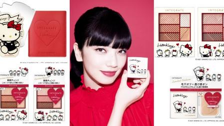 就是不放過妳錢包♡INTEGRATE X Hello Kitty限定聯名來了~奶白色限量粉盒+復古手繪圖騰、可愛爆表!