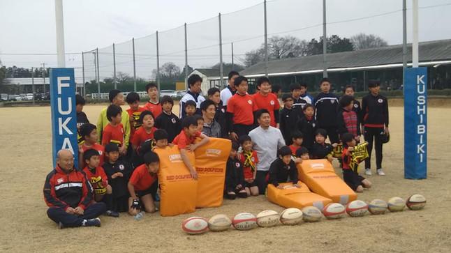 地元出身の名選手によるラグビー教室開催