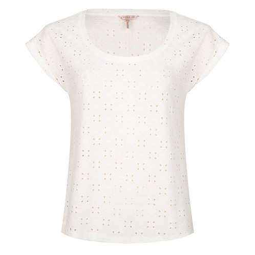 Esqualo Broderie Anglaise Turn Up Sleeve Blouse