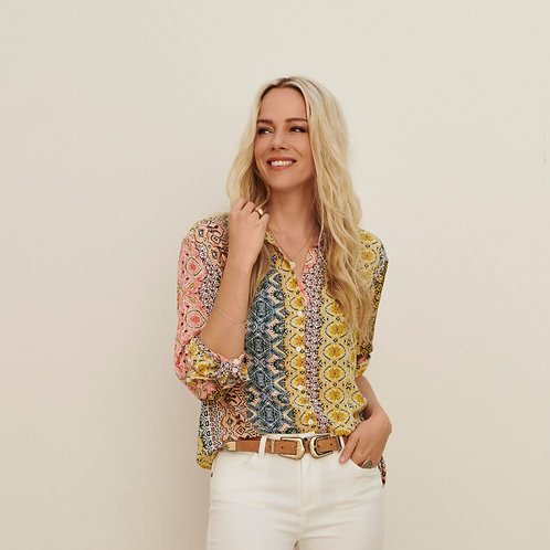 Esqualo Border Print Blouse