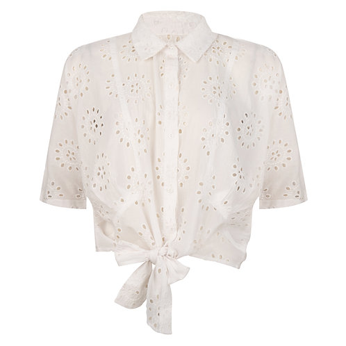 Esqualo Broderie Anglaise Tie-Up Blouse