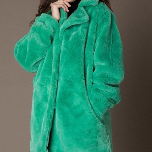 Yest Faux Fur Coat - Green