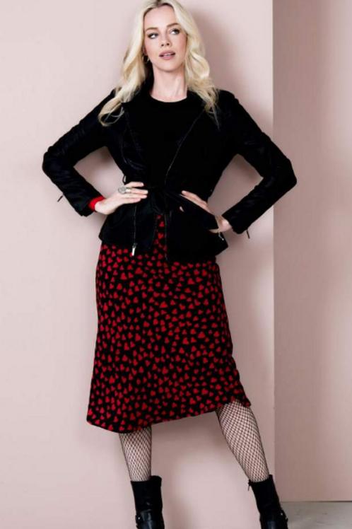 Esqualo Midi Skirt with Heart Print