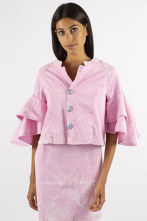 Elisa Cavaletti Cropped Pink Jacket