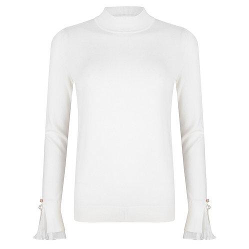 Esqualo Sweater with Chiffon Plissé Cuff