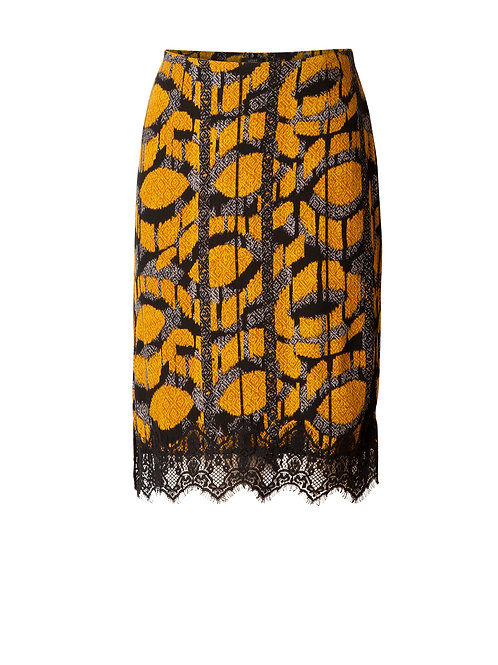 Yest Yellow Multi-Coloured Skirt with Lace