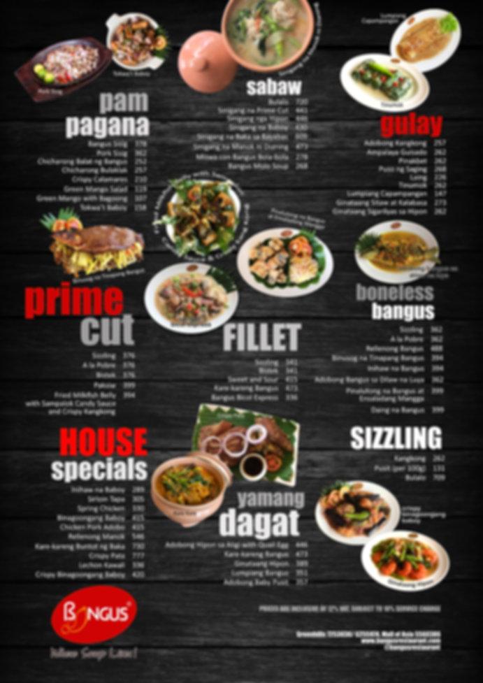Bangus Restaurant menu