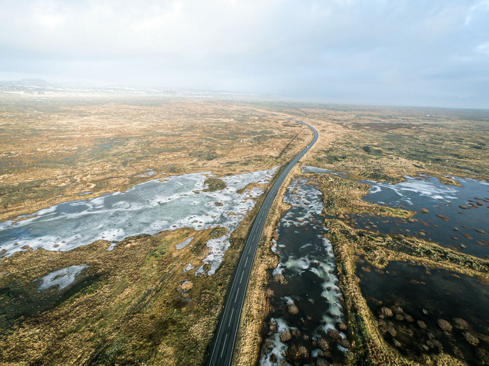 Paysages glacés d'Islande pris par un drone