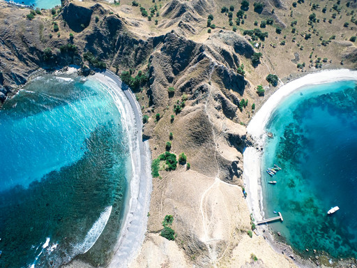The Komodo Islands seen from the sky by drone