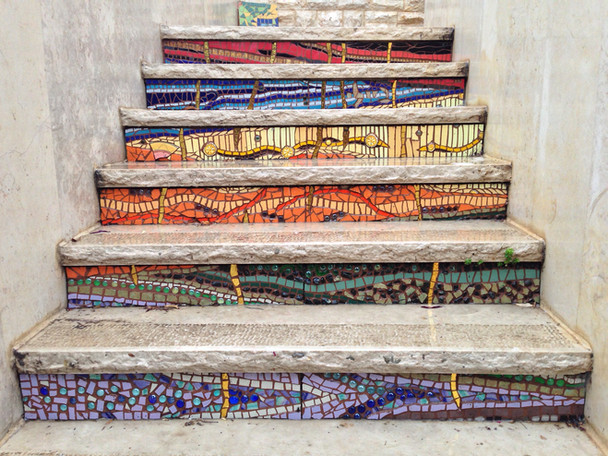 Accents: Mosaic entrance stairway.
