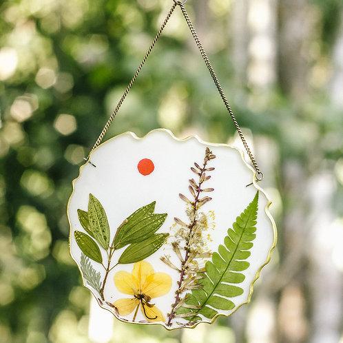 Paisagem e sol - Quadro botânico (12,5cm)