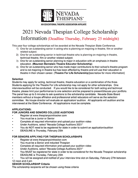 2021College Scholarship and Audition Inf