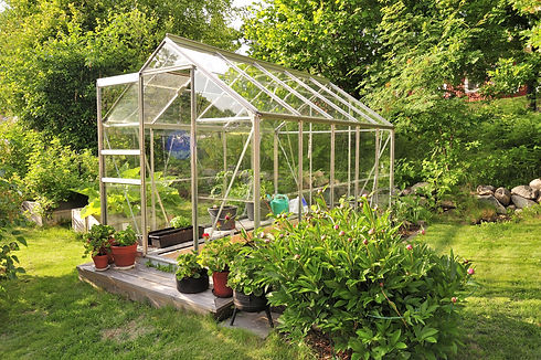 A garden center greenhouse with a colorf
