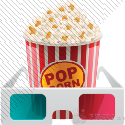3D movie popcorn icon