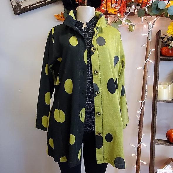 Parsley and Sage Chartreuse Polka Dot Jacket