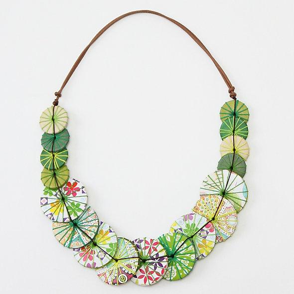 Green Print Azalea Necklace