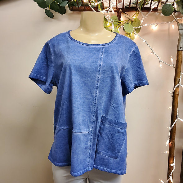 Focus Boxy Periwinkle Pocketed Tee