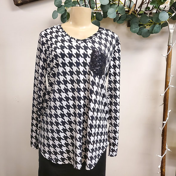 Black and White Houndstooth Sequin Surprise Top