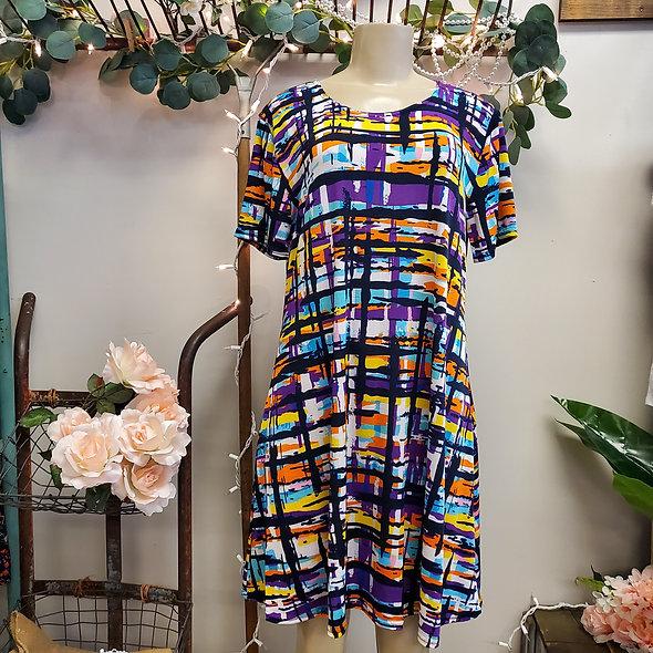 Purple Mosaic Mini Dress