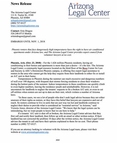 AZ Legal Center Mock Press Release