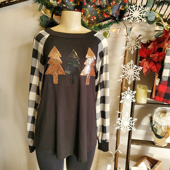 Buffalo Plaid Sequin Christmas Tree Top