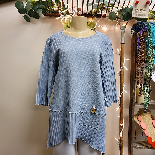 Focus Dusty Blue Pocketed Tunic