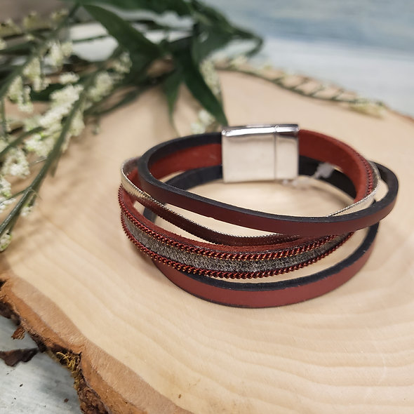 Deep Red and Silver Magnetic Bracelet