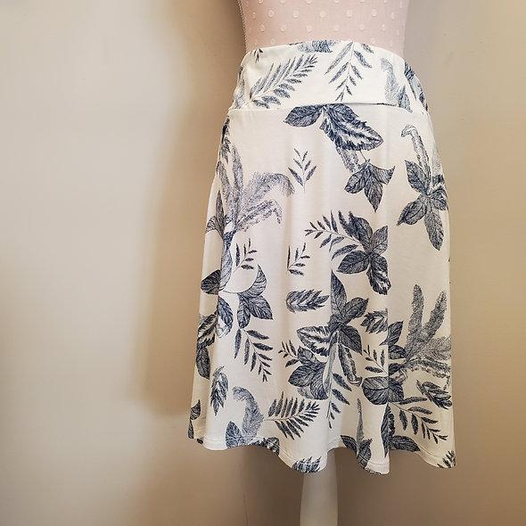 Tribal White and Navy Floral Midi Skirt