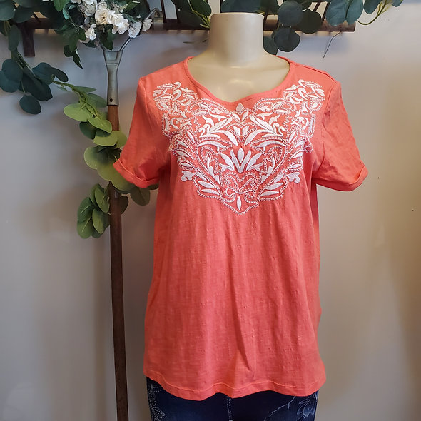 Tribal Embroidered Deep Coral Tee