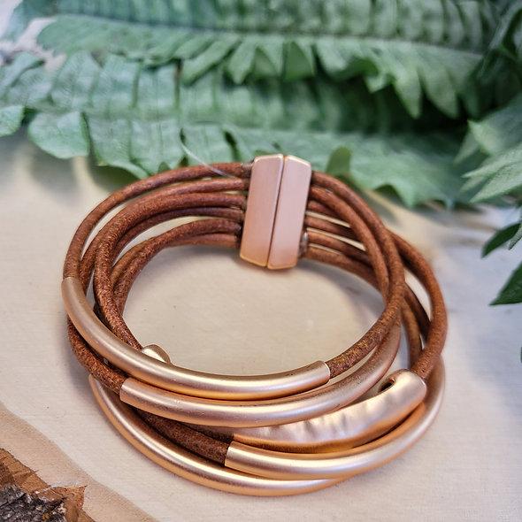 Camel and Gold Tube Magnetic Bracelet