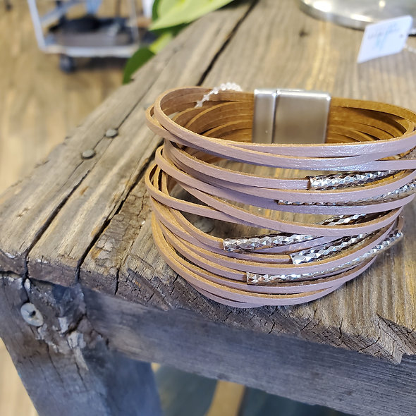 Blush Taupe Wide Magnetic Bracelet