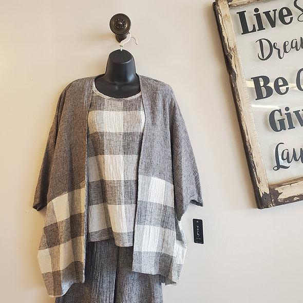 Yushi Grey Linen Open-Front Jacket