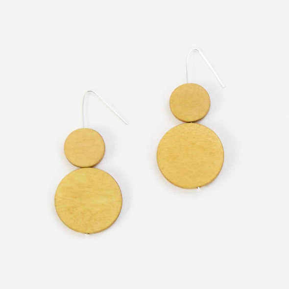 Double Bead Sarah Earrings Mustard