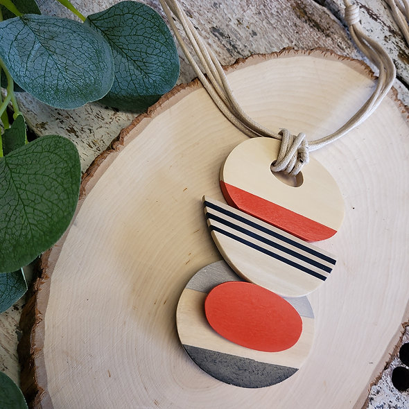 Alisha D. Wooden Beige & Red Pendant Necklace