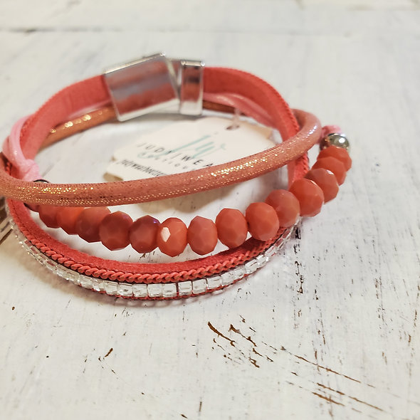 Coral Beaded Magnetic Bracelet