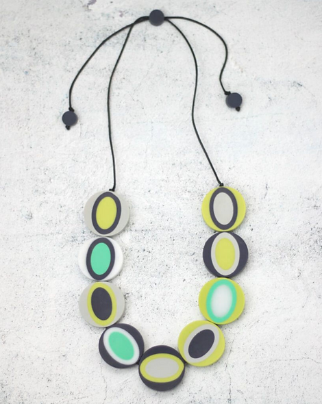 Lime and Navy Alexis Necklace
