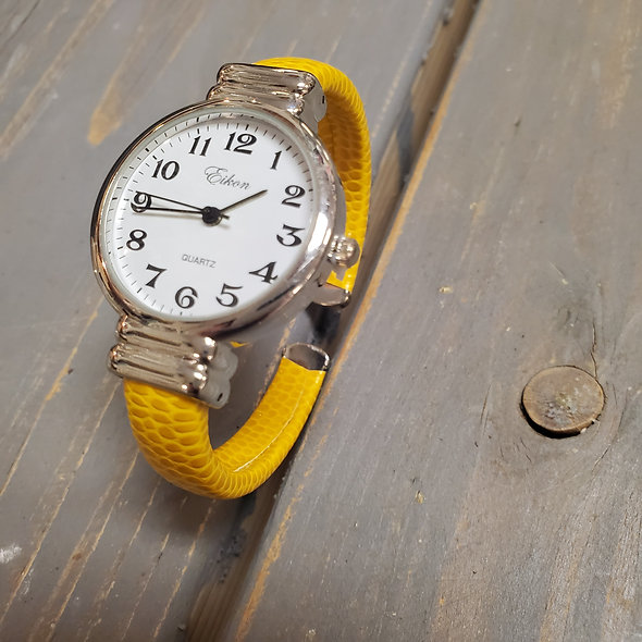 Yellow Faux Snakeskin Leather Hinged Watch