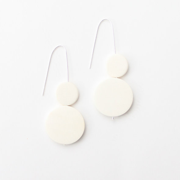 Double Bead Sarah Earrings White
