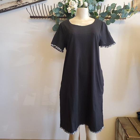Tribal Fringe Hem Little Black Dress