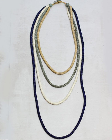 Four Layer Multi Color Wood Necklace by Sylca