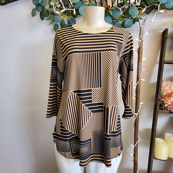 Taupe & Black Geometric Top