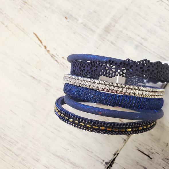Lace and Rhinestone Magnetic Bracelet