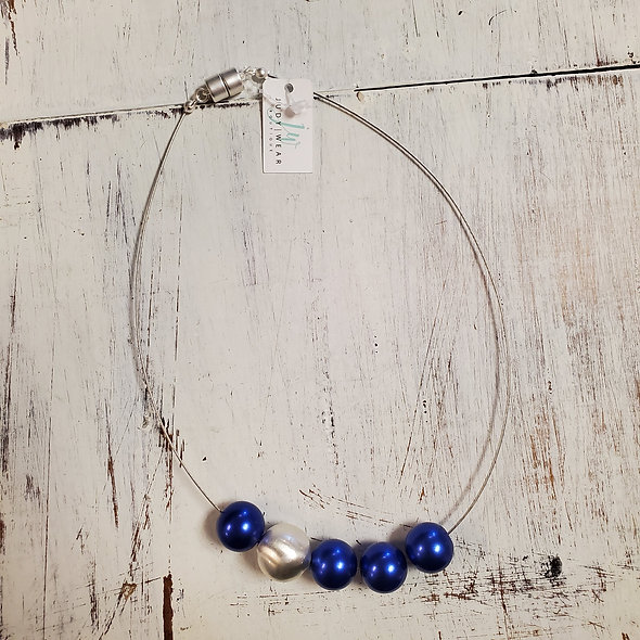 Multi-Blue and Silver Beaded Necklace
