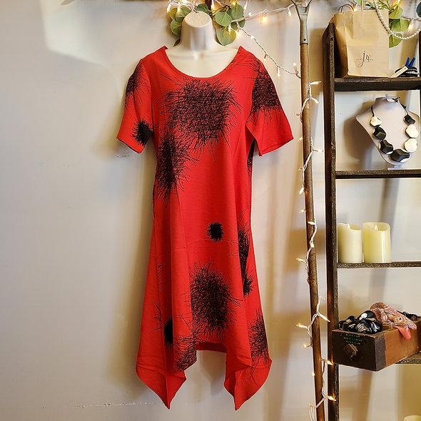 Shana Red Asymmetrical Midi Dress