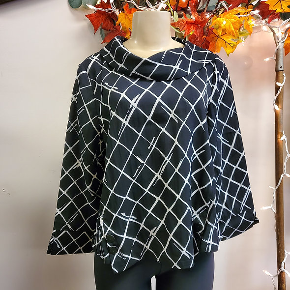 Habitat Black and White Windowpane Cowl Neck Top