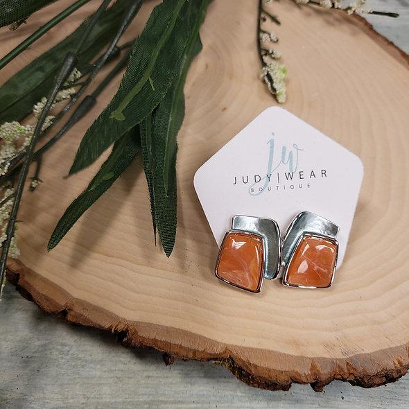 Mint and Orange Enamel Earrings