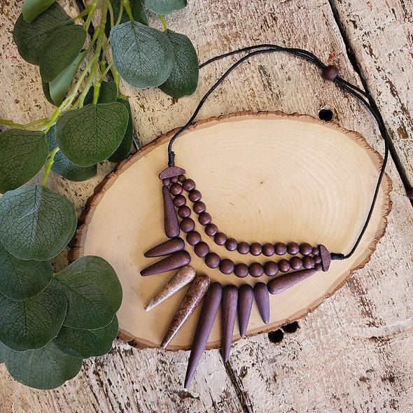 Alisha D. Purple Beaded Spike Drop Necklace